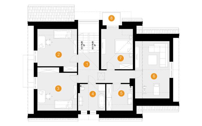 projekt domu henryk 1 - rzut poddasza