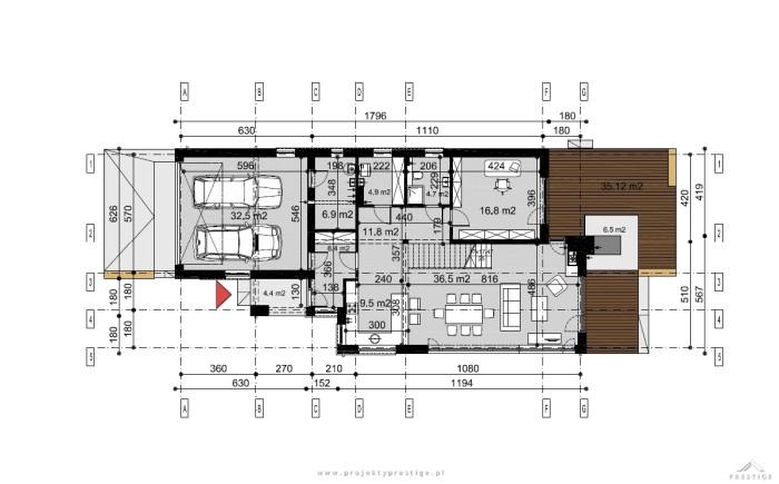 Projekt domu Kornelia rzut parter wymiary