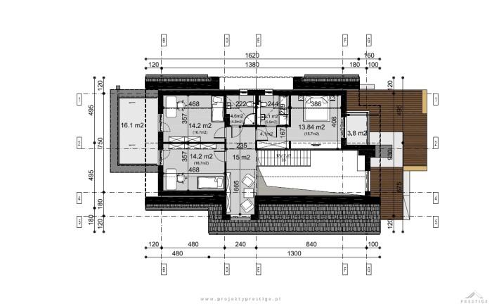 Projekt domu Kornelia rzut piętro wymiary