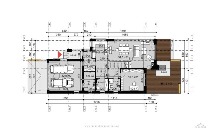 Projekt domu Kornelia rzut parteru wymiary