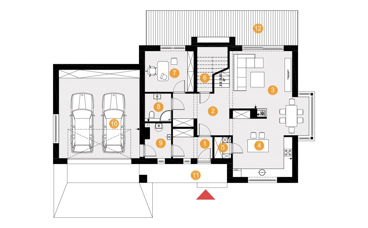 Projekt domu Henryk II rzut