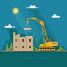 68607894 - construction site, building a house. front apartment house. flat style vector illustration.
